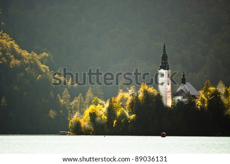 Panorama of Lake Bled's island in autumn.