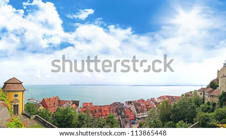 Panorama of Lake Constance from the village Meersburg, Germany