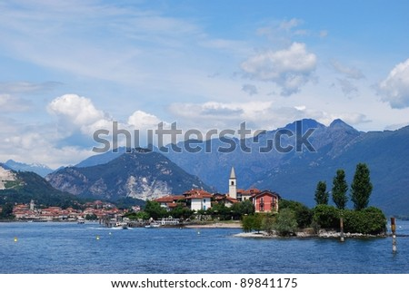 Panorama of Lake Maggiore and Fishermen Island with Alps mountains in background, Piedmont, Italy