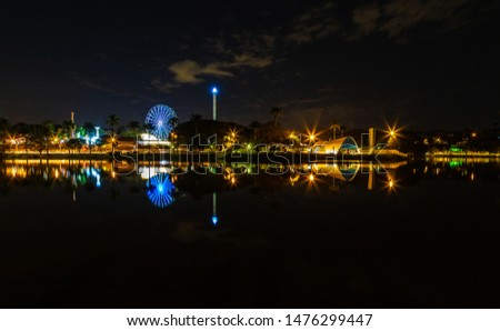 Panorama of Lake Pampulha at night. Belo Horizonte, Minas Gerais, Brazil.