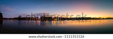Panorama of Lake Pampulha in sunset. Belo Horizonte, Minas Gerais, Brazil.