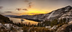 Panorama of Lake Tahoe's sunrise over Emerald Bay