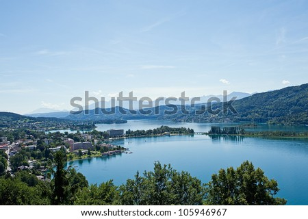 Panorama of Lake Woerther az poertschach, Austria, Carinthia
