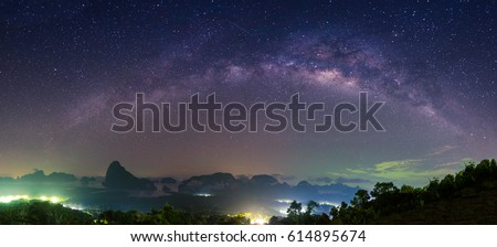 panorama of Landscape with Milky Way Night sky with stars  #614895674