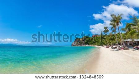 Panorama of Leela beach on Koh Phangan island, Thailand in a summer day #1324848509