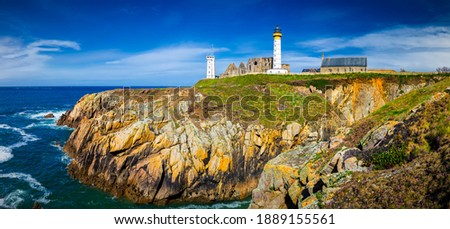 Panorama of lighthouse and ruin of monastery, Pointe de Saint Mathieu, Brittany (Bretagne), France Stock fotó ©
