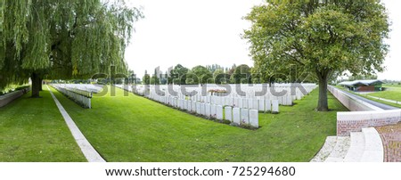 Panorama of LIJSSENTHOEK MILITARY CEMETERY, West-Vlaanderen, Belgium, Lijssenthoek was the location for a number of casualty clearing stations during the First World War. Stock photo ©