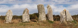 Panorama of line of the six menhirs of Vieux-Moulin - Old Mill - megalithic landmark near Plouharnel in Brittany, France