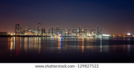 Panorama of Liverpool by night