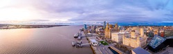 Panorama of Liverpool waterfront in the evening, Liverpool