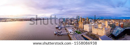 Panorama of Liverpool waterfront in the evening, Liverpool Stock photo ©