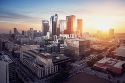 Panorama of Los Angeles at sunset.