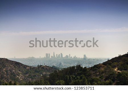 Panorama of Los Angels, California, USA taken from Beverly Hills.