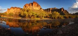 Panorama of lower salt river landscape, Arizona.