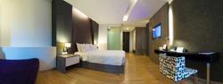 panorama of luxury modern hotel room, Bangkok, Thailand.