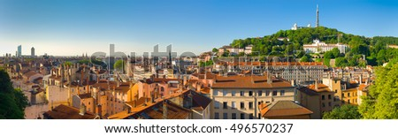 Panorama of Lyon in a sunny summer day #496570237