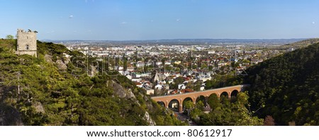 Panorama of Mödling + Vienna Basin (Lower Austria) and his famous aqueduct Built in the 18th century. See further the so called black Tower at the left.