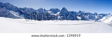 Panorama of main Caucasian mountain ridge