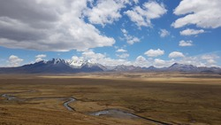 Panorama of majestic Andes mountains, Peru