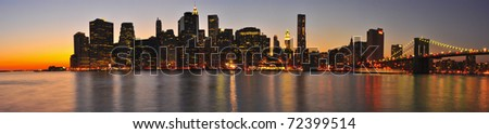 Panorama of Manhattan at Sunset. New York City