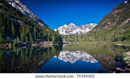 Panorama of Marron Bells Peaks Near Aspen, Colorado - High Dynamic Range, Wide Aspect 16:9 Image with Perfect Reflection  in Lake