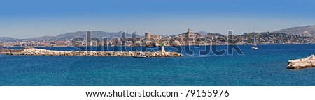 panorama of marseille with chateau d'if, france