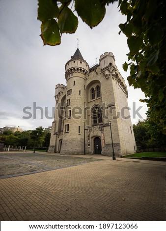 Panorama of medieval fortified Halle Gate Porte de Hal Hallepoort white urban stone castle tower Brussels Belgium Stok fotoğraf ©