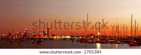 Panorama of Melbourne, Australia, before dawn, with marina in foreground.  Viewed from Williamstown.
