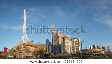 Panorama of melbourne city centre with a blue and cloudy sky on a winter morning featuring the arts district