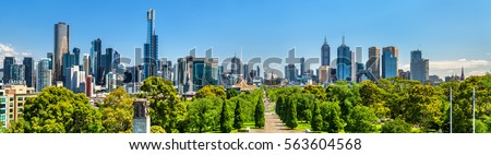 Panorama of Melbourne from Shrine of Remembrance - Australia #563604568