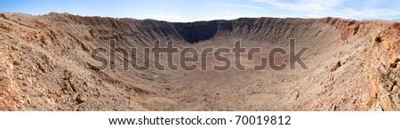 Panorama of Meteor crater in Arizona. - stock photo
