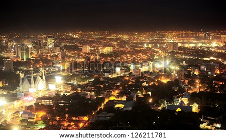 Panorama of Metro Cebu at night. Cebu is the Philippines second most significant metropolitan centre and main domestic shipping port.