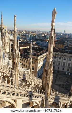 Panorama of Milan from the roof of the Duomo cathedral, Royal Palace in background, Lombardy, Italy