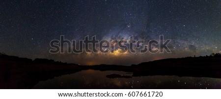Panorama of Milky way at the lake view / Milky way #607661720