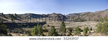 Panorama of Missouri River near Helena Montana, arid landscape.