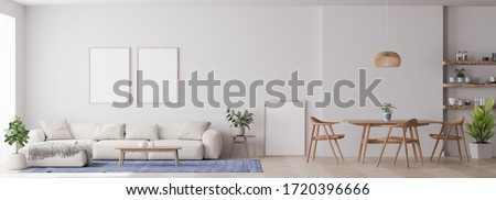Panorama of modern living room with white furniture and dining area with wooden table and chairs on white background and lots of green plants, 3D render, 3D illustration
