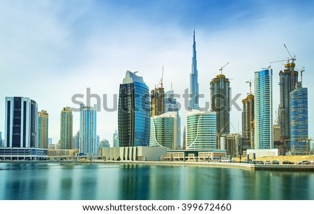 Panorama of modern skyscrapers in the center of luxury Dubai city,Dubai,United Arab Emirates