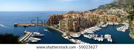 Panorama of Monte Carlo Marina from Above. Fontvieille, new district of Monaco.