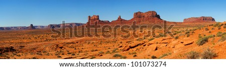 Panorama of Monument Valley taken from the Utah desert