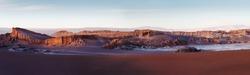 Panorama of Moon Valley in Atacama Desert at sunset, Chile