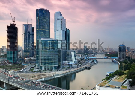 panorama of Moscow City complex of skyscrapers at evening in Moscow, Russia