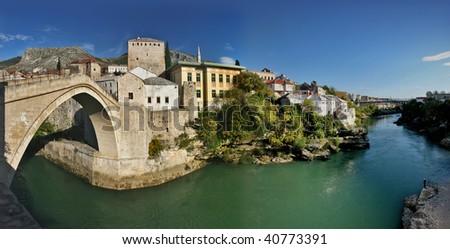 panorama of mostar city old town, bosnia herzegovina