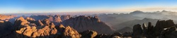 Panorama of Mount Sinai in Sinai Peninsula of Egypt. Dawn of the holy summit of Mount Sinai, Aka Jebel Musa, know also as Mount of Ten Commandments or Mount of Moses.