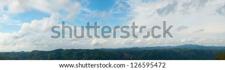 panorama of mountains in Burma. Dense tree cover on the mountain.