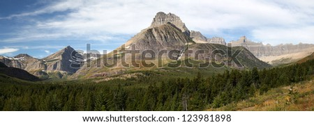 Panorama of Mountains in Glacier National Park