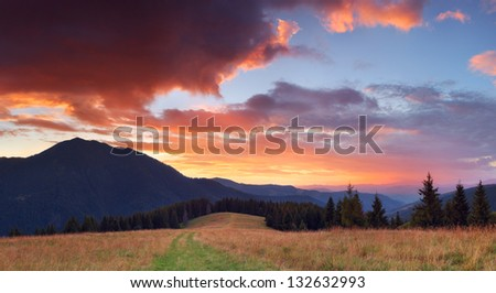 Panorama of mountains with very beautiful sunset #132632993