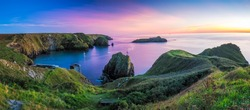 Panorama of Mullion Cove in Cornwall in Uk.