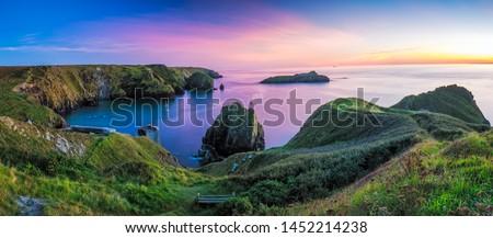 Panorama of Mullion Cove in Cornwall in Uk.