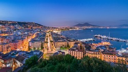 Panorama of Naples and Vesuvio, Italy