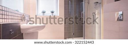 Panorama of new design bathroom interior with elegant fixture #322152443
